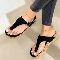 Kvinnor PU Flat Heel Plattform Peep Toe Flip Flops Tofflor med Ihåliga ut Solid färg skor