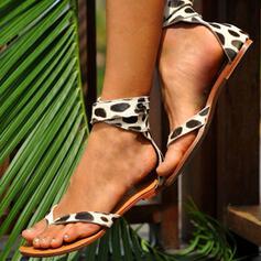 De mujer Ante Tacón plano Sandalias Cerrados Chancletas con Estampado de animales zapatos