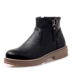 Femmes Similicuir Talon plat Plateforme Bottes Bottines chaussures