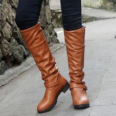Pentru Femei PU Toc gros Ghete Martin Deget rotund cu Nit Fermoar pantofi