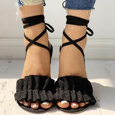 De mujer Tela Tacón bajo Sandalias Encaje Pantuflas con Color sólido Vendaje zapatos