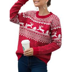 Potisk Copánkový vzor Crăciun Kulatý výtřih Neformální Vánoční Ošklivý vánoční svetr