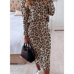 Leopard Dlouhé rukávy Přiléhavé Tužky Elegantní Midi Šaty
