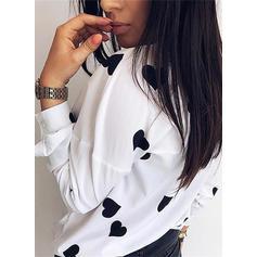 Print Heart Lapel Long Sleeves Casual Knit Shirt Blouses
