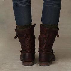 De mujer PU Tacón bajo Botas longitud media con Hebilla zapatos