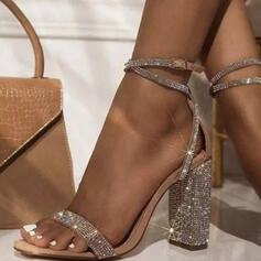 Women's Leatherette Chunky Heel Sandals Pumps With Rhinestone Buckle Hollow-out shoes