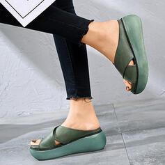 De mujer PU Tipo de tacón Sandalias Encaje con Agujereado Color sólido zapatos