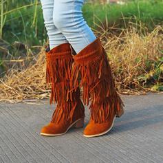 De mujer Ante Tacón ancho Botas al tobillo Encaje con Borla Color sólido zapatos