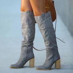 Dámské PU Široký podpatek Boty Kozačky nad kolena S Nabírané Solid Color obuv
