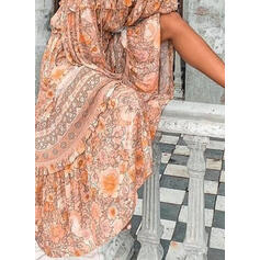Nadrukowana/Kwiatowy Długie rękawy W kształcie litery A Łyżwiaż Casual/Boho/Wakacyjna Maxi Sukienki