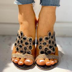 De mujer PU Tacón ancho Salón Pantuflas con Rhinestone zapatos