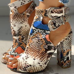 PU Χοντρό φτέρνα Σανδάλια Ανοιχτά σανδάλια toe Με Πόρπη Αποτύπωμα ζώου παπούτσια