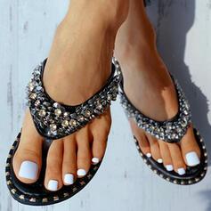 Dla kobiet PU Płaski Obcas Sandały Otwarty Nosek Buta Z Cekin obuwie