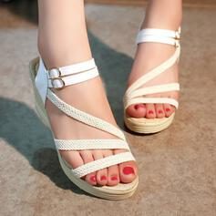Γυναίκες Υφασμα PU Γωνία κλίσης Σανδάλια Ανοιχτά σανδάλια toe Με Πόρπη παπούτσια