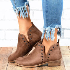 Women's Suede Chunky Heel Ankle Boots Martin Boots Pointed Toe With Rivet Solid Color shoes