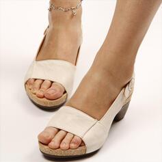 Donna PU Tacco spesso Sandalo Punta aperta Con cinturino Ciabatte con Fibbia scarpe