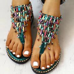 De mujer PU Tacón plano Sandalias Encaje con Rhinestone Cremallera zapatos