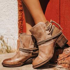 De mujer PU Tacón ancho Salón Cerrados Botas Botas al tobillo con Hebilla zapatos