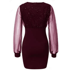 Flitterek/Egyszínű Hosszú ujjú Testre simuló ruhák Térd feletti Kis fekete/Party/Elegáns φορέματα
