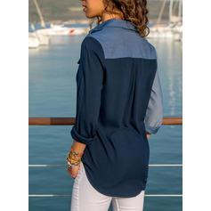 Color Block lapel Långa ärmar Knäpp upp Fritids Skjorta Blusar
