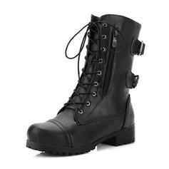 De mujer Cuero Tacón bajo Botas Botas longitud media Botas de equitación con Hebilla Cremallera Cordones zapatos