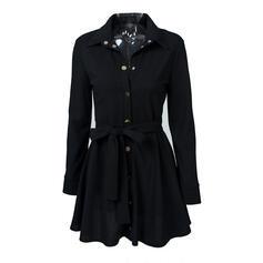 Sólido Manga Larga Acampanado Sobre la Rodilla Pequeños Negros/Casual/Elegante Camisa/Patinador Vestidos