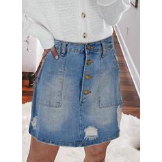 デニム プレーン 膝上 ラインスカート