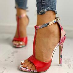 Kvinnor Konstläder Stilettklack Sandaler Pumps Peep Toe Klackar med Spänne skor