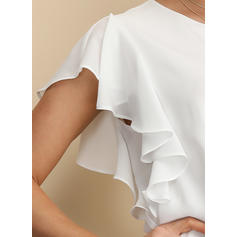 Sólido Gola Redonda Manga Curta Casual Elegante Blusas
