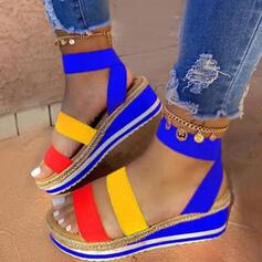 De mujer Cuero Tipo de tacón Sandalias Plataforma Encaje Solo correa con Material Block zapatos