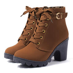 De mujer PU Tacón ancho Salón Cerrados Botas con Hebilla Cordones zapatos