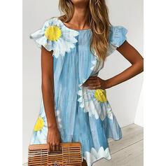 Nadrukowana/Kwiatowy Krótkie rękawy Koktajlowa Nad kolana Casual Tunika Sukienki