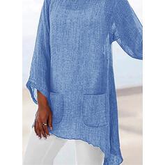 Jednobarevný Kulatý Výstřih Dlouhé rukávy Neformální Bluze