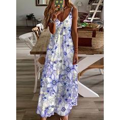 Impresión/Floral Sin mangas Tendencia Camisón Casual/Vacaciones Maxi Vestidos