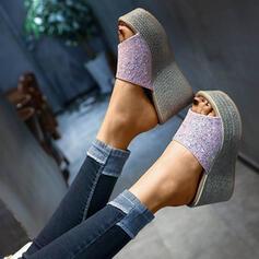 De mujer PU Tipo de tacón Cuñas Encaje Pantuflas con Lentejuelas zapatos