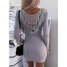 Solid Spets Round Neck Casual Tröja klänning