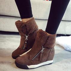 Pentru Femei Piele de Căprioară Fară Toc Cizme de Iarnă Deget rotund cu Fermoar Culoare solida pantofi
