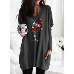 Sequins V-Neck Long Sleeves Christmas Sweatshirt
