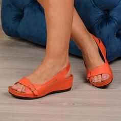 De mujer PU Tipo de tacón Sandalias Encaje Solo correa con Hebilla Agujereado zapatos