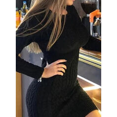 Düz / Tek (Renk) Saç Örgüsü Kulatý krk Neformální Dlouhé Upnuté Svetrové šaty