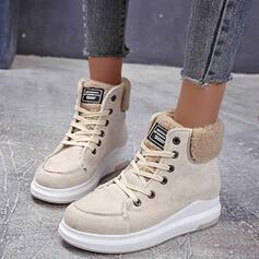 Dla kobiet Zamsz Niski Obcas Round Toe Martin Buty Z Klamra Sznurowanie Jednolity kolor obuwie