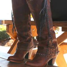 Dámské Koženka Široký podpatek Kozačky nad kolena Kolem špičky S Nýt Tassel Splice Color obuv