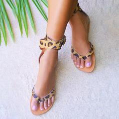 Dla kobiet Zamsz Płaski Obcas Sandały Zakryte Palce Japonki Z Nadruk Zwierzęcy obuwie