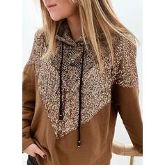 leopardo Paillettes Maniche lunghe con cappuccio