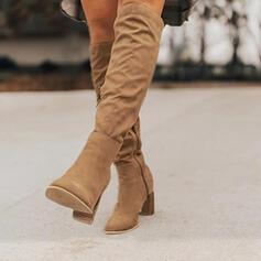 Mulheres Camurça Salto agulha Bota no joelho com Zíper sapatos