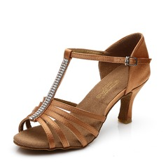 Women's Latin Heels Sandals Satin With T-Strap Hollow-out Latin