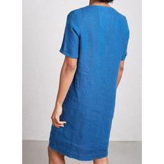 Sólido Manga Curta Shift Comprimento do joelho Casual T-shirt Vestidos