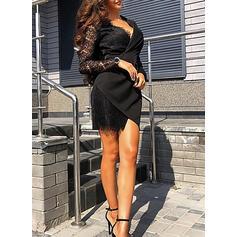 Krajka/Pevný Dlouhé rukávy Pouzdrové Nad kolena Malé černé/Neformální/Elegantní Šaty