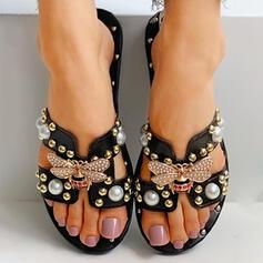 De mujer PU Tacón plano Sandalias Chancletas Pantuflas con Rhinestone Rivet zapatos