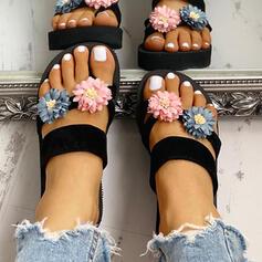 De mujer EVA Tipo de tacón Sandalias Pantuflas Anillo del dedo del pie con Flor zapatos